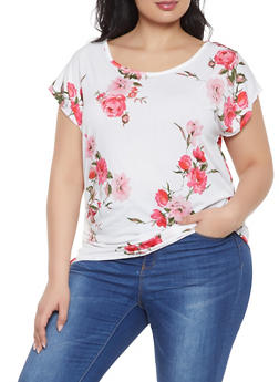 Plus Size Floral Ruched Top - Multi - Size 1X - 1912074015674