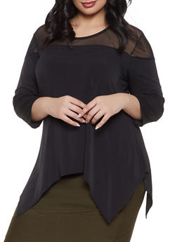 Plus Size Mesh Yoke Asymmetrical Top - 1912074015676