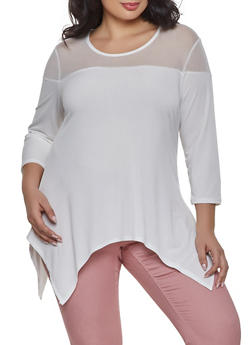 Plus Size Asymmetrical White Spandex