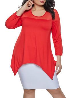 Plus Size Mesh Yoke Asymmetrical Top - Red - Size 2X - 1912074015676