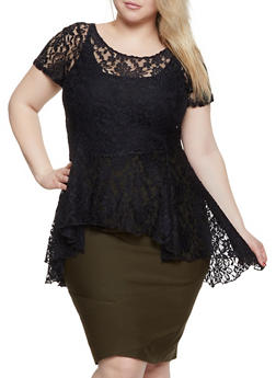 Plus Size High Low Lace Tee - 1912074015717