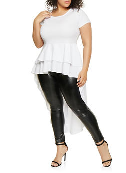 Plus Size Textured Ruffle High Low Top - 1912074015718