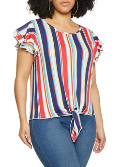 Plus Size Tiered Sleeve Striped Tee - 1912074015722