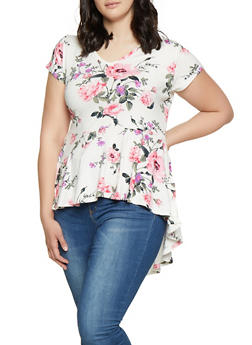 Plus Size Floral Ruffle High Low Top - 1912074015723