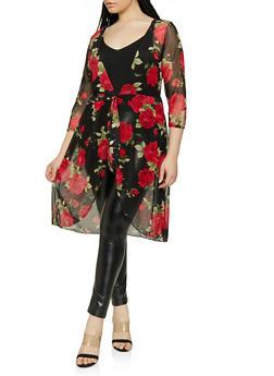 Plus Size Floral Mesh Tie Front Duster - 1912074015767