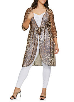 Plus Size Mesh Cheetah Tie Front Duster - 1912074015768