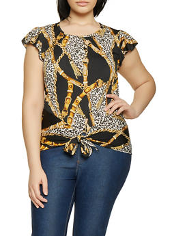 Plus Size Flutter Sleeve Printed Top - 1912074015769