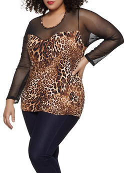 Womens Plus Size Leopard Tops
