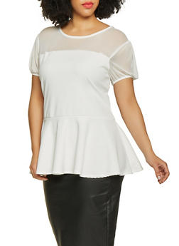 Plus Size Mesh Yoke Peplum Top - 1912074015774