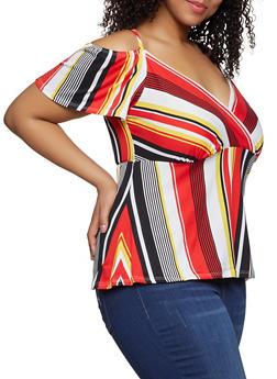 Plus Size Faux Wrap Striped Cold Shoulder Top - 1912074015776