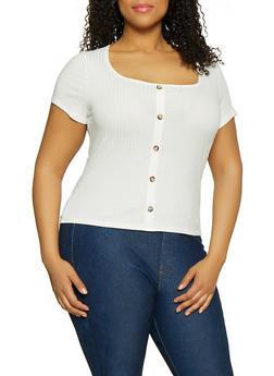 Plus Size Faux Button Rib Knit Tee - 1912074015777