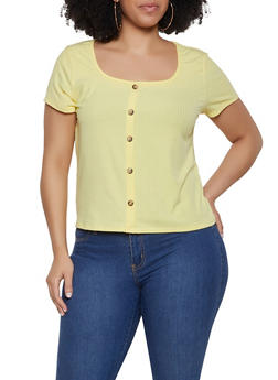 Plus Size Faux Button Rib Knit Tee - 1912074015777