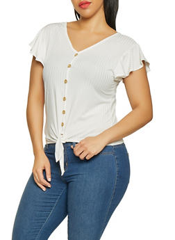Plus Size Faux Button Ribbed Knit Tee - 1912074015778