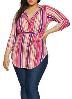 Plus Size Striped Faux Button Shirt - 1912074015780
