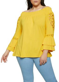 Plus Size Off the Shoulder Crochet Hem Top - 1912074015825