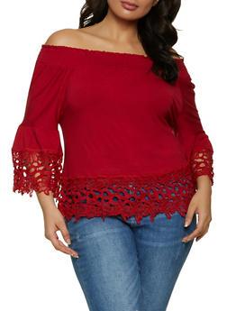 Plus Size Flower Crochet Trim Off the Shoulder Top - 1912074015826