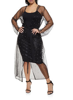 Plus Size Studded Mesh Duster - 1912074280028