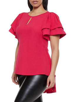 Plus Size Keyhole Textured High Low Top - 1912074280111