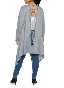 Plus Size Slashed Flyaway French Terry Duster - 1912074280144