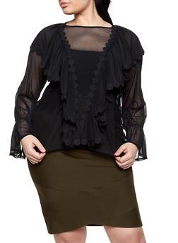 Plus Size Mesh Bell Sleeve Blouse - Black - Size 3X - 1912074280318