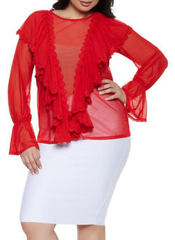 Plus Size Mesh Bell Sleeve Blouse - Red - Size 1X - 1912074280318