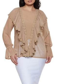 Plus Size Mesh Bell Sleeve Blouse - 1912074280318