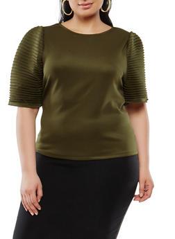 Plus Size Pleated Sleeve Scuba Top - 1912074280400