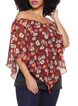 Plus Size Floral Overlay Off the Shoulder Top with Necklace - 1912074280477