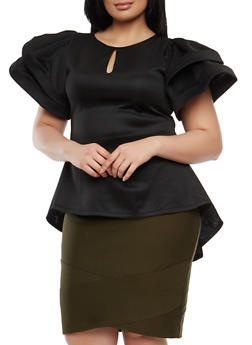 Plus Size Tiered Sleeve High Low Top - 1912074280601