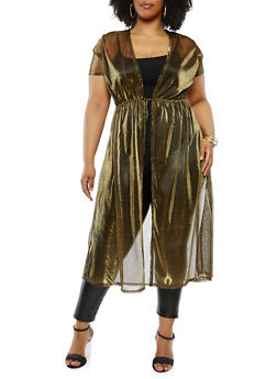 Plus Size Shimmer Knit Duster - 1912074280701