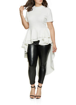 Plus Size High Low Peplum Top - 1912074280922