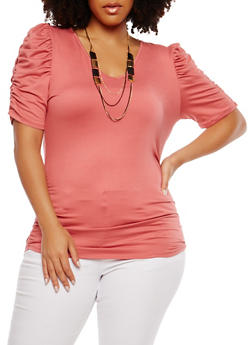 Plus Size Ruched Detail Top with Necklace - 1912074281010