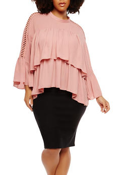 Plus Size Crochet Caged Sleeve Tiered Top - 1912074281019