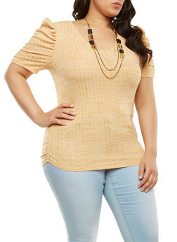 Plus Size Ruched Sleeve Top with Necklace - 1912074281100