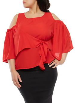 Plus Size Cold Shoulder Tie Back Top - 1912074281102
