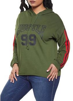 Plus Size Hustle Graphic Sweatshirt - 1912074281127