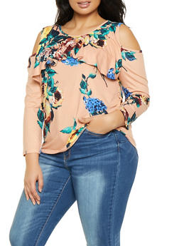Plus Size Ruffled Floral Cold Shoulder Top - 1912074281129
