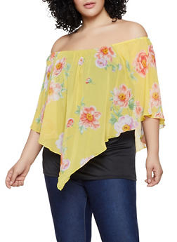 Plus Size Off the Shoulder Floral Overlay Top | 1912074281141 - 1912074281141