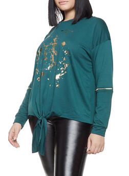 Plus Size Foil Graphic Sweatshirt - 1912074281150
