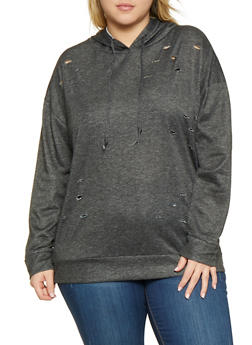 Plus Size Distressed Sweatshirt - 1912074281151