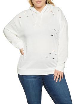 Plus Size Distressed Sweatshirt - 1912074281151