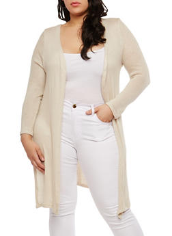 Plus Size Long Knit Cardigan - KHAKI - 1912074281154