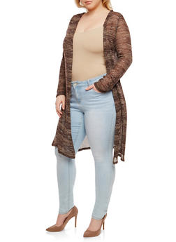 Plus Size Long Knit Cardigan - BRONZE - 1912074281154