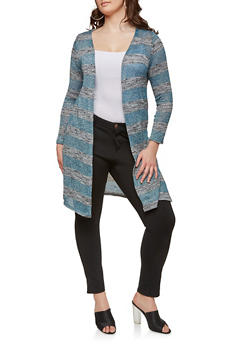 Plus Size Long Knit Cardigan - TEAL - 1912074281154