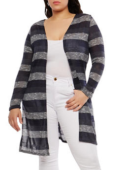 Plus Size Long Knit Cardigan - NAVY - 1912074281154