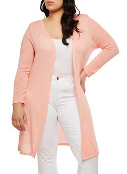 Plus Size Long Knit Cardigan - MAUVE - 1912074281154