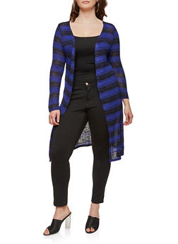 Plus Size Long Knit Cardigan - ROYAL - 1912074281154