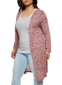 Plus Size Knit Long Cardigan - 1912074281190