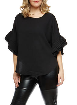 Plus Size Tiered Sleeve Top - BLACK - 1912074281446