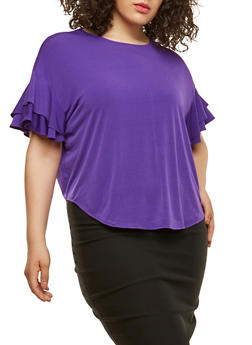 Plus Size Tiered Sleeve Top - PURPLE - 1912074281446